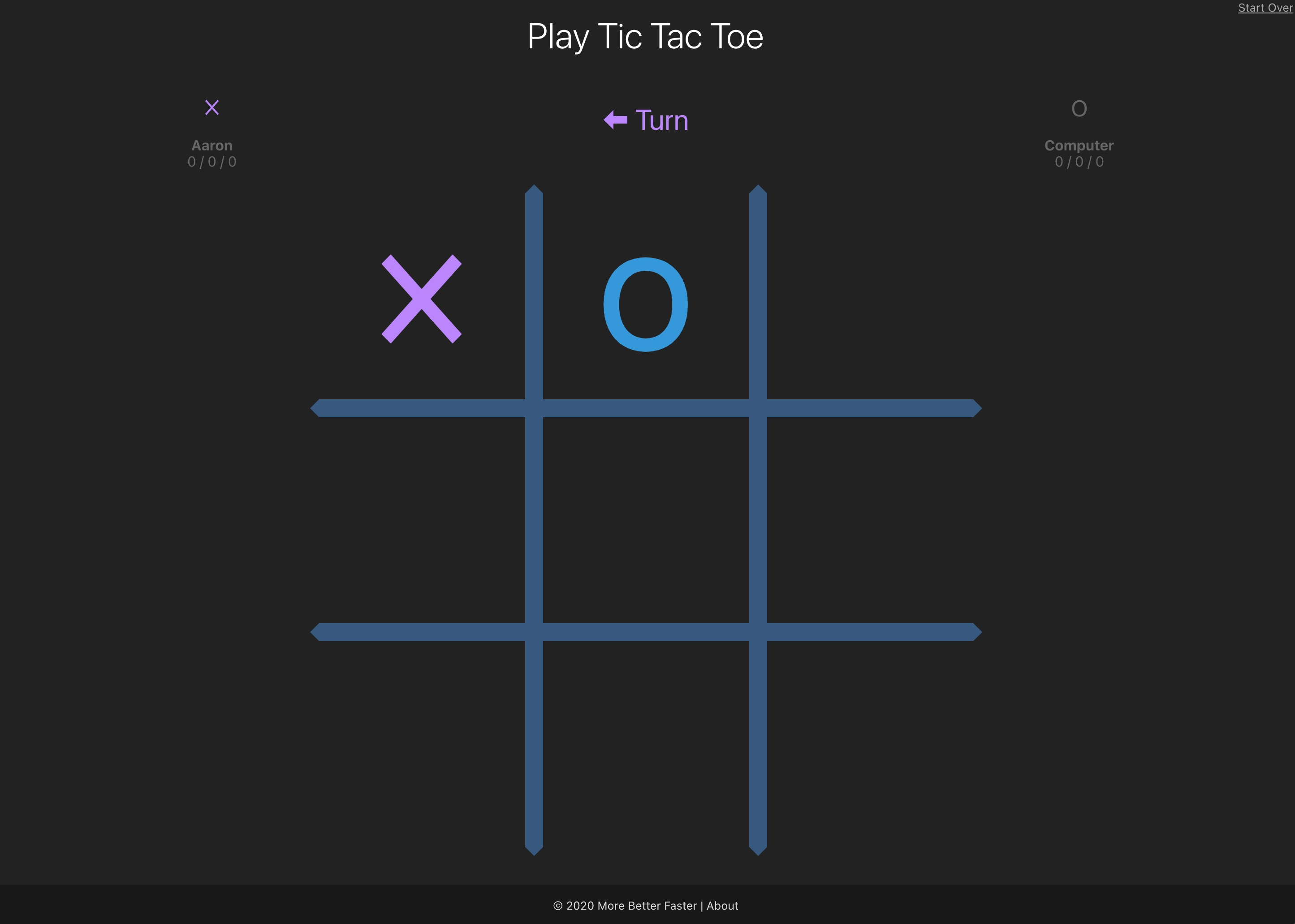 Play Tic Tact Toe Page